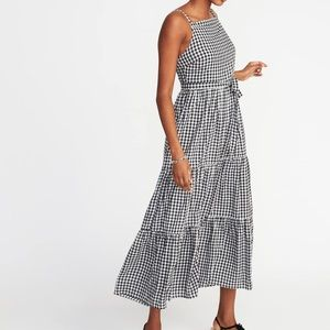 Nwt ON Black and white gingham tiered dress sz L